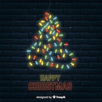Kleurrijke licht kerstboom achtergrond
