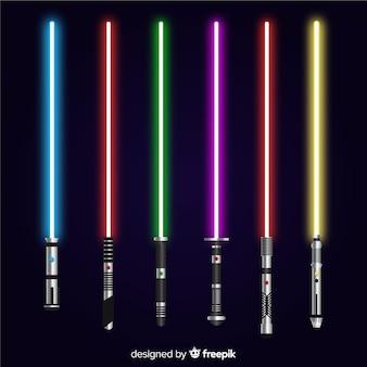 Kleurrijke lichtzwaardverzameling