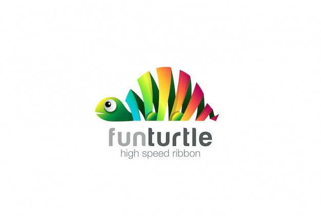 Kleurrijke lint turtle abstract logo pictogram.