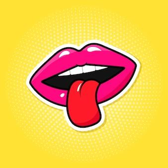 Kleurrijke lippen en tong in pop-art retro stijl.