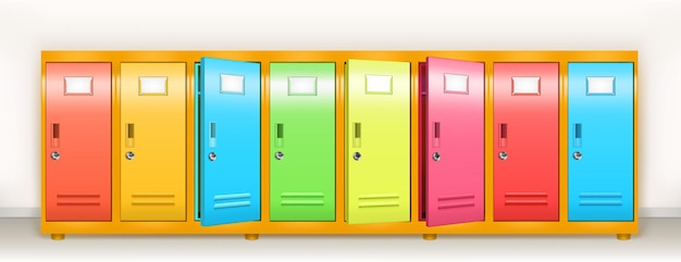 Kleurrijke lockers vector school of sportschool kleedkamer metalen kasten rij veelkleurige opslag met ...