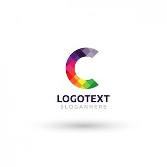 Kleurrijke logo met geruite c
