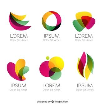 Kleurrijke logo's in abstracte stijl