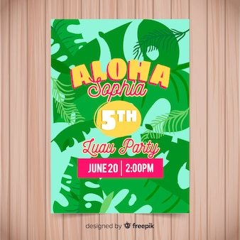 Kleurrijke luau feest folder sjabloon