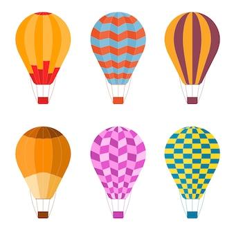 Kleurrijke luchtballon ingesteld op platte ontwerpstijl