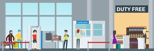 Kleurrijke luchthavenbanner met passagiers die bagagecontrole en paspoortcontrole passeren