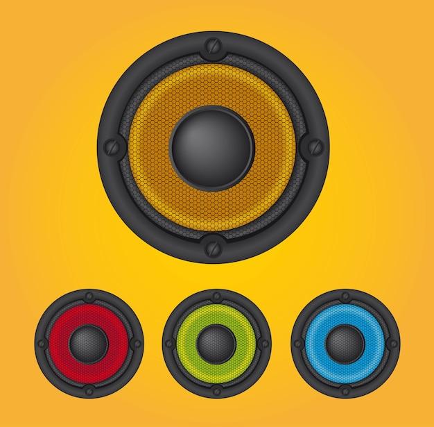 Kleurrijke luidsprekers over gele achtergrond vector