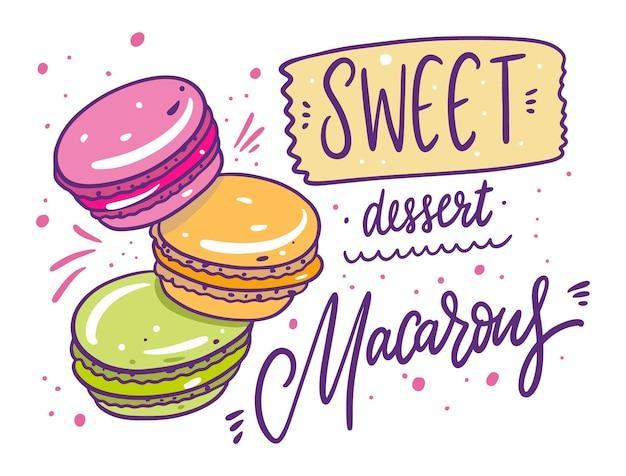 Kleurrijke macarons instellen collectie illustratie
