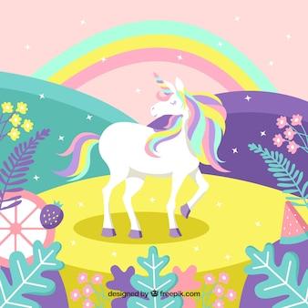 Kleurrijke magische wereld achtergrond met eenhoorn