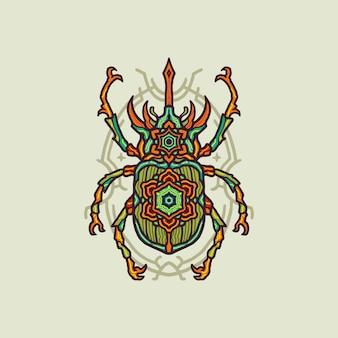 Kleurrijke mandala bug luxury illustration