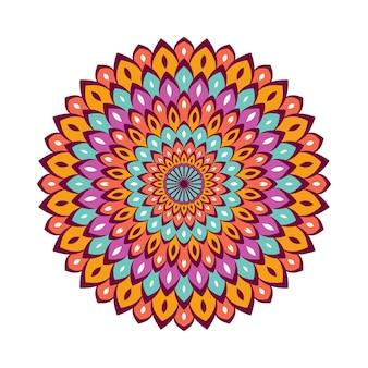 Kleurrijke mandala met bloemenornament