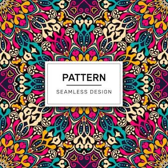 Kleurrijke mandala naadloze patroon sierlijke ontwerp veelkleurig