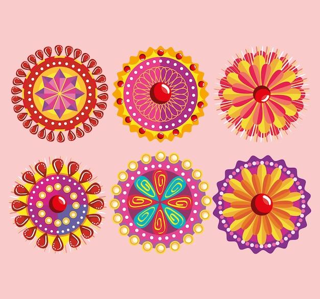Kleurrijke mandala's icoon collectie