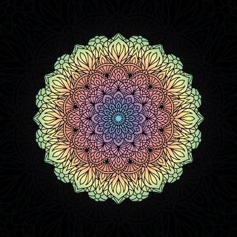Kleurrijke mandala vector hand getekend cirkelvormig geometrisch element voor henna, mehndi, tattoo, decoratie, textiel, patroon, uitnodigingsachtergrond