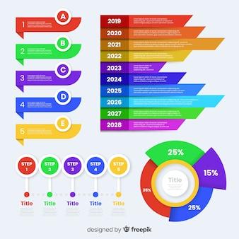 Kleurrijke marketing stappen collectie sjabloon