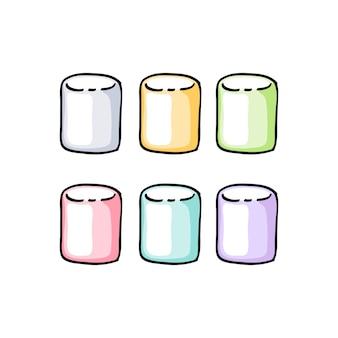 Kleurrijke marshmallow set