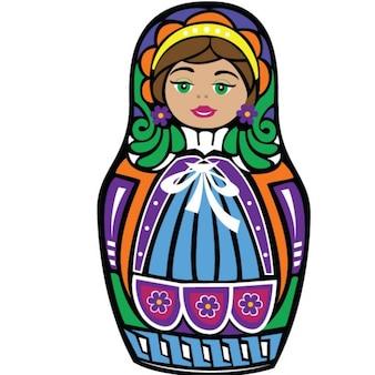 Kleurrijke matryoshkapop grafische illustratie