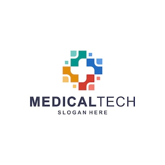 Kleurrijke medische technologie logo sjabloon