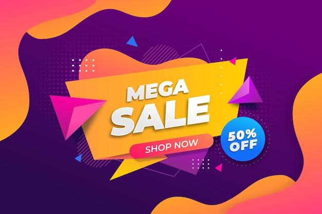 Kleurrijke mega-verkoopachtergrond met aanbieding