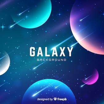 Kleurrijke melkwegachtergrond met realistisch ontwerp