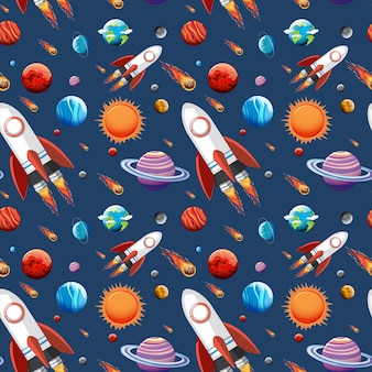 Kleurrijke melkwegruimte en planeten naadloos geplaatst