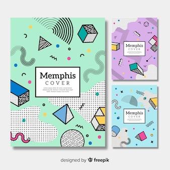 Kleurrijke memphis brochure collectie