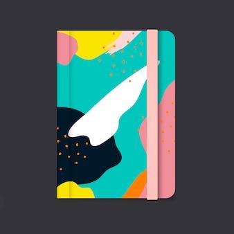Kleurrijke memphis-het ontwerpdekkingsvector van het ontwerpnotitieboekje