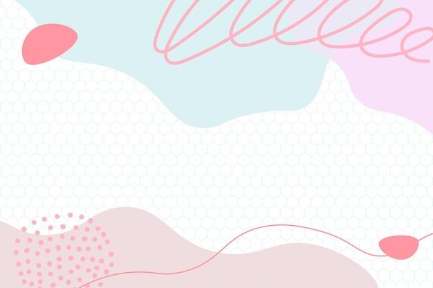 Kleurrijke memphis moderne abstracte vormen schattig roze met zeshoekige achtergronden vector