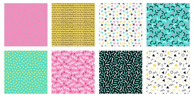 Kleurrijke memphis naadloze patronen. mode 80s mozaïek textuur, retro kleurenpatronen en geometrische lijnen en puntenpatroon