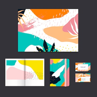 Kleurrijke memphis ontwerp lay-out vector set