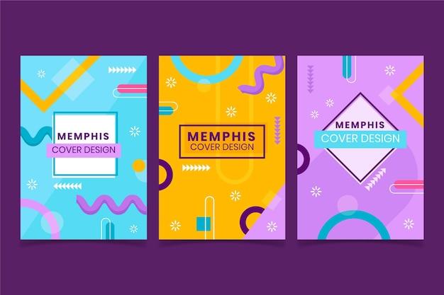 Kleurrijke memphis-ontwerpomslagcollectie