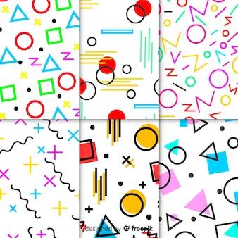 Kleurrijke memphis patroon set