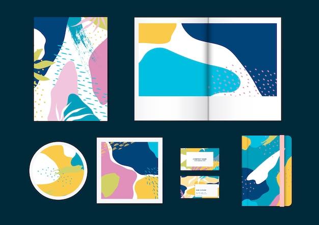 Kleurrijke memphis patroon vector set