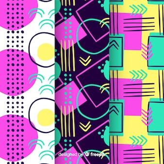 Kleurrijke memphis patrooncollectie