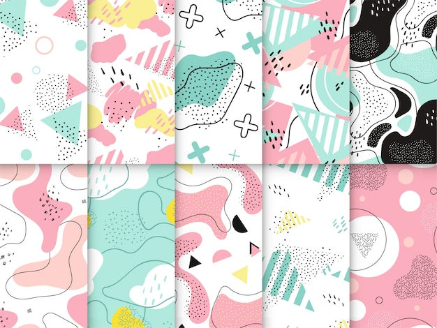 Kleurrijke memphis-patrooninzameling