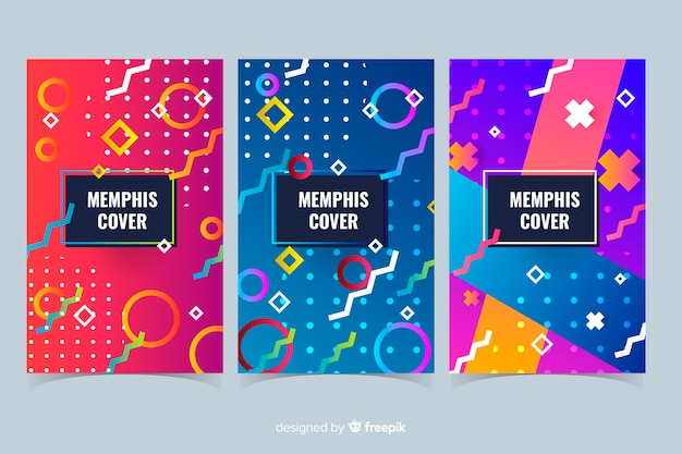 Kleurrijke memphis-stijl covercollectie