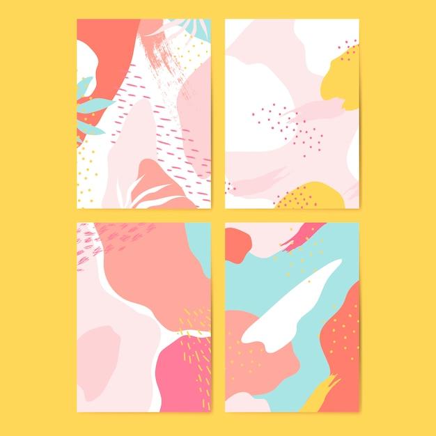 Kleurrijke memphis-stijl kaarten vector set
