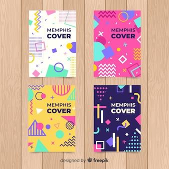 Kleurrijke memphis stijl poster set