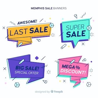 Kleurrijke memphis stijl verkoop banner set