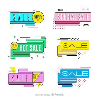 Kleurrijke memphis verkoopbanners