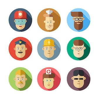 Kleurrijke menselijke gezichten. verschillende beroepen.