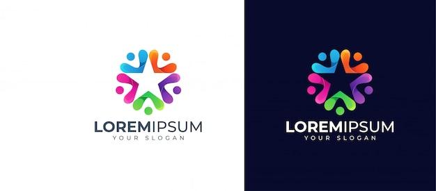 Kleurrijke mensen en star-logo-ontwerp