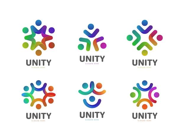 Kleurrijke mensen gemeenschap sociale logo-collectie