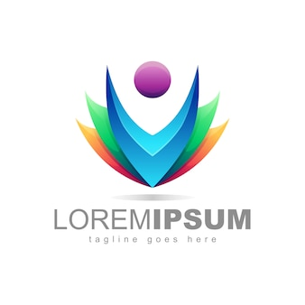 Kleurrijke mensen logo design vector