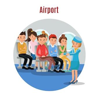 Kleurrijke mensen op vliegtuig sjabloon