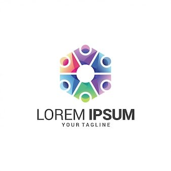 Kleurrijke mensen verbinden logo