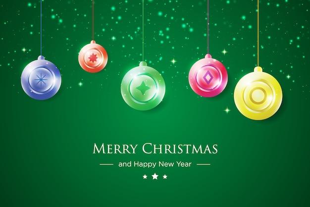 Kleurrijke merry christmas wenskaart met ornament