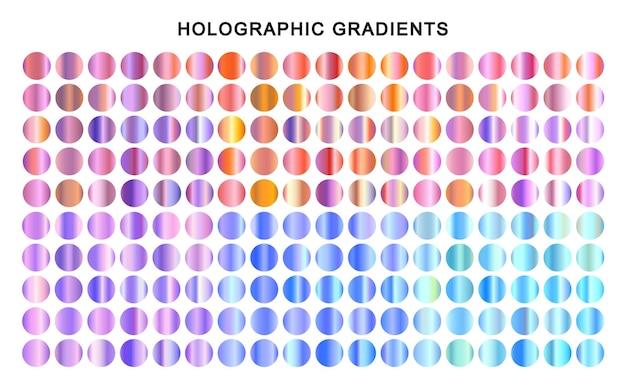 Kleurrijke metalen verlopen instellen holografische texturen