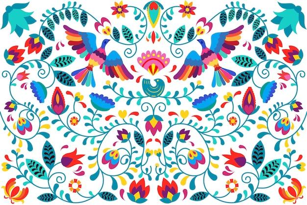 Kleurrijke mexicaanse achtergrond in plat ontwerp