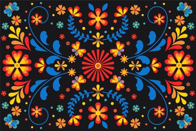 Kleurrijke mexicaanse achtergrond met bloemen